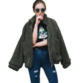 Mode Frauen Fluffy Shaggy Kunstpelz Mantel Langarm Lose Mantel Umlegekragen Reißverschluss Freizeitjacke Outwear Tops