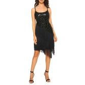 Moda Mulheres Sequin Fringe Party Dress 1920 Gatsby Flapper Vestido sem mangas Tassel Hem Retro Dress Ouro / Preto