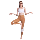 Women Sports Yoga Pants Leggings Color Block Gym Fitness Workout Tights Trousers Skinny Leggings Brown/White/Grey