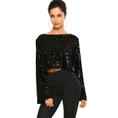 New Sexy Women Sequin Flare Sleeve Crop Top O Neck Glittering Bling Long Sleeve Casual Party Top T-Shirt Preto / Verde