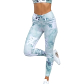 Women Sports Yoga Leggings Watercolor Print Stretchy Sportswear Fitness Workout Skinny Bodycon Pants Trousers