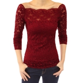 Sexy Women Hollow Out Lace Blouse Off Shoulder Slash Neck Long Sleeves Elegant Ladies Top Shirt