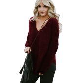 Women Autumn Winter Sweatshirt Warm Fleece Casual Top V-Neck Loose T-Shirt Jumper Top Black/Grey/Burgundy