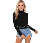 Women Bodysuit Top Sexy Rompers Club Jumpsuit Turtleneck Long Sleeves Solid Playsuit Black/White