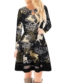 Fashion Women Christmas Santa Claus Printed Long Sleeve Dress Mesh Splice O Neck A-Line Swing Xmas Dress