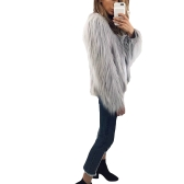 Winter Women Faux Fur Coat Solid Color Long Sleeve Fluffy Outerwear Short Jacket Hairy Warm Overcoat