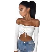 Women Sexy Ruched Crop Top T-Shirt Off Shoulder Strapless Ruffle Long Sleeve Shirt Top