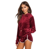 Women Velvet Tracksuit Set Hoodie de manga comprida Sweat Suits Sweat-shirt de cordão Shorts Two Piece