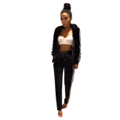 Women Two-Piece Set Hooded Hoodie Pants Stripes Long Sleeves Zipper Elastic Waist Casual Sportswear Top Trousers