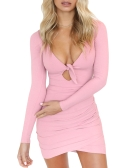 Sexy Women Mini Dress Tie Front Cut Out V-Neck Long Sleeve Irregular Bodycon Nightclub Party Pencil Dress Pink