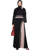Muslim Women Plus Size Maxi Dress Crochet Lace Splice O Neck Long Sleeves Abaya Islamic Robe Kaftan Turkish Long Dress