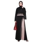 ムスリム女性プラスサイズマキシドレスかぎ針編みレーススプライスOネックロングスリーブAbayaイスラムのローブKaftanトルコのロングドレス
