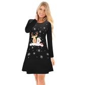 Autumn Winter Women Christmas Dress Cartoon Santa Reindeer Snowflake Long Sleeves Casual Xmas Dresses