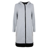 Women Long Hooded Sweatshirts Coat Contrast Casual Pockets Zipper Outerwear Hoodies Jacket