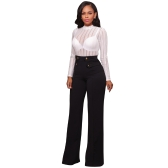 Women Sexy Bodysuit Long Sleeves Jumpsuit Sheer Stripe Mesh Rompers High Neck Club One Piece Black/White
