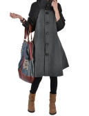 Fashion Women Swing Coat Turtleneck Long Sleeve Button Winter Thick Outerwear Trench Coat Overcoat Black/Grey/Red