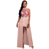 Sexy Women Jumpsuit Sheer Mesh Floral Embroidery Sleeveless Maxi Skirt Shorts Overalls Romper Elegant Casual Playsuit