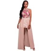 Mujeres atractivas Mono Sheer Mesh Floral bordado sin mangas Falda Maxi Pantalones cortos Monos mameluco Elegante Traje Casual