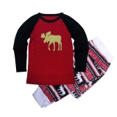 Women Christmas Family Look Pajamas Reindeer Family Matching Outfit Father Mother Kids Baby T-Shirt Pants Set Red
