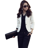 Women One Button Business Blazer Suit Long Sleeves Office Casual Leisure Coat Jacket Ladies Short Outwear