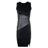 New Celebrity Women Dress PU Leather Splice Girocollo Sleeveless Elegante Slim Party Dress Black