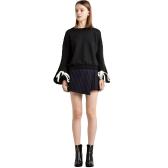 Frauen lose Fleece Lace Up Verband Manschette Rundhals Langarm Casual Sweatershirt Pullover schwarz