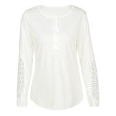 Blusa de mujer casual encaje de ganchillo empalme botón de manga larga cuello redondo camiseta sólida camiseta