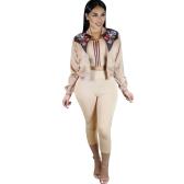Nouveau Mode Femmes Doudoune Floral Imprimer O-cou Zipper À Manches Longues Manteau Survêtement Kaki