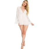 Sexy Femmes Combishort Solide Dentelle Florale Plunge V Long Flare Manches Voir à Travers Clubwear Blanc