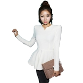 Mulheres Tops V Neck Long Puff Sleeve Peplum Ruffle Hem Zipper Slim Fit Elegante Coreia do Sul T-shirt