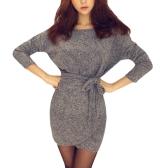 Vestido de punto de mujer de otoño invierno con cuello en v manga larga con cuello en V de punto vestido mini de punto negro