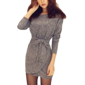 Autumn Winter Women Knit Dress Cross Belted O-Neck Long Sleeve Knitted Mini Sweater Dress Black