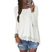 New Fashion Women Casual T-Shirt Round Neck Long Sleeve Crochet Lace Splice Irregular Hem Top Tee