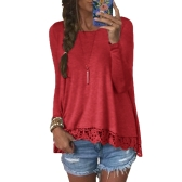 New Fashion Women Casual T-Shirt Round Neck manga comprida manga Crochet Lace Splice Irregular Hem Top Tee