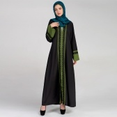 Nuevas mujeres Musulmanes Maxi Dress Contraste Color Lace Pitches Manga larga Abaya Kaftan Islámica Indonesia Robe Long Dress Rosado / Verde oscuro