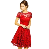 New Sexy Women Floral Lace Dress Round Neck Short Sleeve Pleated Swing Cocktail Party Dress Blue/Black/Red