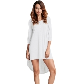 Fashion Women Long Tunic Top Basic T-Shirt z guzikami z przodu O Neck z długim rękawem Nieregularna Hem Mini sukienka