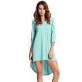 Moda Mulheres Túnica Longa Top T-Shirt Básico Botão Frente O Pescoço Long Sleeve Irregular Hem Mini Dress