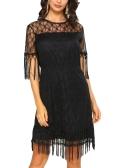 Sexy Women Mini Dress Sheer Lace Tassel O-Neck Manga curta Solid Elegant Party Evening Dresses Black