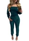 Sexy Frauen Velvet Jumpsuit Off Schulter Langarm Warm Overall Strampler One Piece Body Overalls Rosa / Burgund / Blau