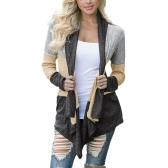 Women Casual Cardigan Coat Open Front Splicing Color Drape Collar Bertha Loose Long Outwear