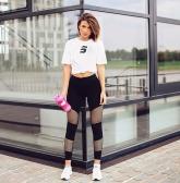 Frauen Fitness Yoga Hosen Sport Leggings Mesh Insert Strumpfhosen Workout Laufende Dünne Beiläufige Hose Schwarz