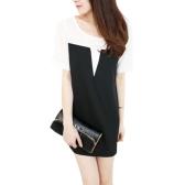 Koszulka damska O-Neck Patch Tee Top z krótkim rękawem Casual Loose Pullover Top Black / Beige