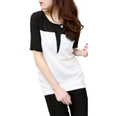 Women T-Shirt O-Neck Patch Tee Top Short Sleeve Casual Loose Pullover Top Black/Beige