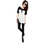 Mulheres T-Shirt O-Neck Patch Tee Top manga curta Casual Loose Pullover Top Preto / Bege