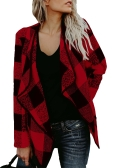 Fashion Women Długi rękaw Plaid Cardigan Lapel Collar Casual Nieregularna kurtka Blazer Coat Outwear