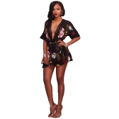 Women Pluse Size Playsuit Floral Print Plunge V Crochet Lace Cut Out Backless Elastic Waist Tie Sexy Party Clubwear