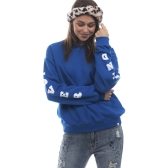 New Fashion Women Sweatshirts O Neck Pullover de manga comprida Tamanho superior Loose Tops Blue