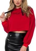 Mujeres de moda sudaderas con capucha carta impresión de manga larga sudaderas sueltas Jersey corto con capucha Tops blanco / rojo