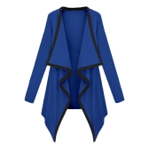 Fashion Women Long Sleeve Contrast Cardigan Open Front Asymmetric Cape Casual Poncho Coat Outwear